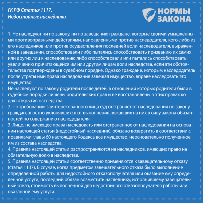 Недостойные наследники - судебная практика признания по статье 1117 ГК РФ, лишение права наследования, оспаривание решения суда