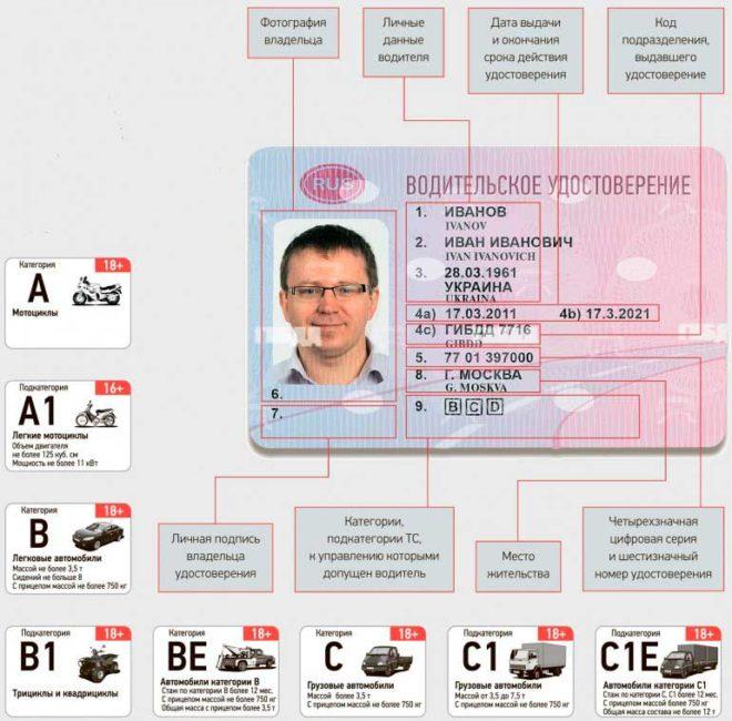 1 21 660x650 - Что означают графы в водительском удостоверении
